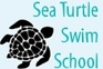 Image of a Sea Turtle in Silhouette. Image text reads: Sea Turtle Swim School