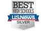 Image of silver shield with blue and red banner. Image text reads: Best High School US News Silver 2014.